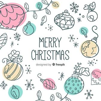 Colorful hand drawn christmas ball collection