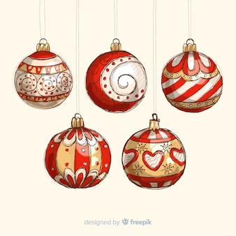 Colorful hand drawn christmas balls