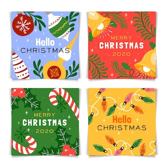 Colorful hand drawn christmas cards pack