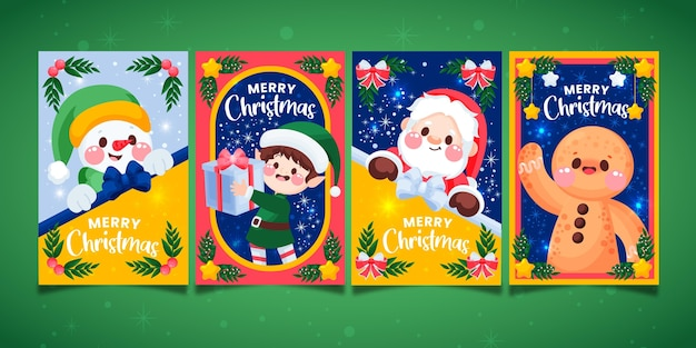 Colorful hand drawn christmas cards