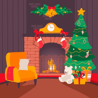 Colorful hand drawn christmas fireplace scene