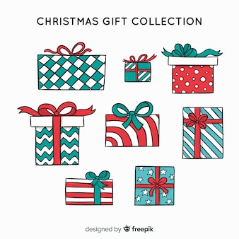 Colorful hand drawn christmas gift collection