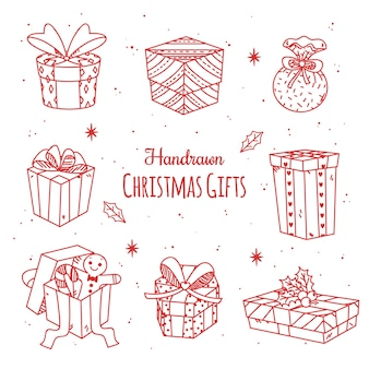 カラフルな手描きのクリスマスプレゼント
