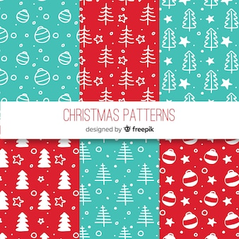 Colorful hand drawn christmas pattern collection
