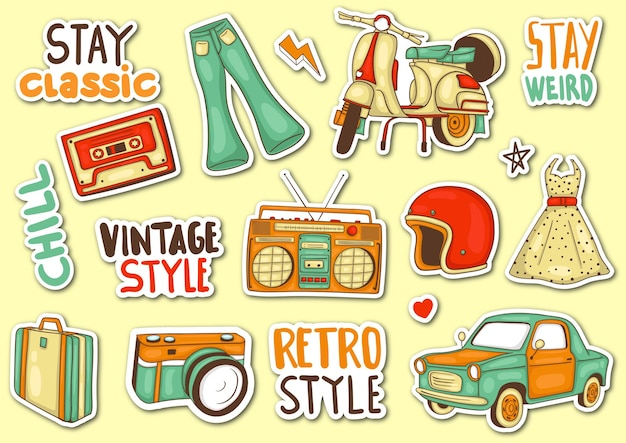 Colorful hand drawn classic element  sticker collection