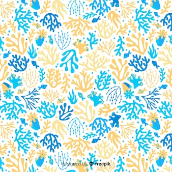 Colorful hand drawn coral pattern