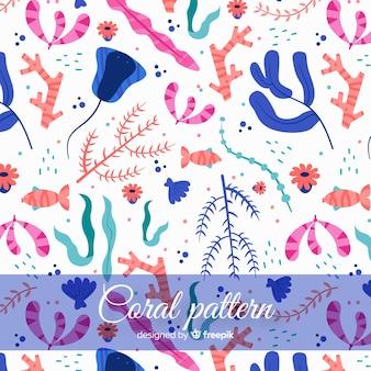 화려한 손으로 그린 산호 패턴