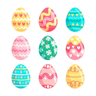 Colorful hand drawn decorative easter eggs collection