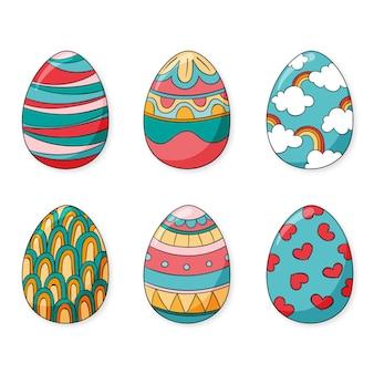 다채로운 손으로 그린 장식 부활절 달걀 컬렉션