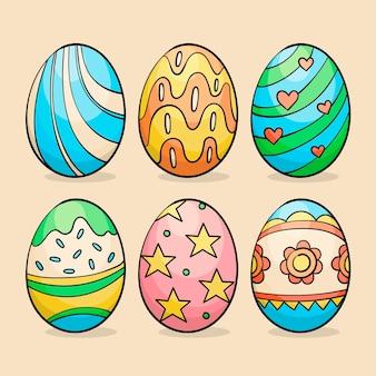 Accumulazione decorativa disegnata a mano variopinta delle uova di pasqua