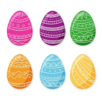 Коллекция красочных рисованной декоративных пасхальных яиц