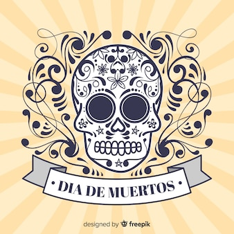 Colorful hand drawn día de muertos background