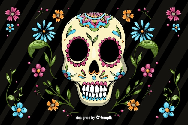 Colorful hand drawn dia de muertos background