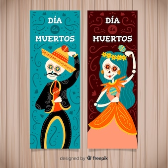 Colorful hand drawn día de muertos banners