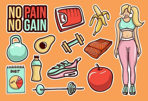 다채로운 손으로 그린 다이어트 스티커 컬렉션