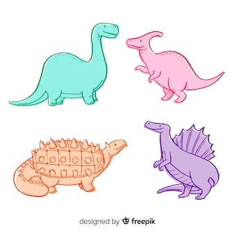 Colorful hand drawn dinosaur collection