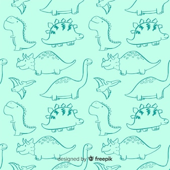 Colorful hand drawn dinosaur pattern