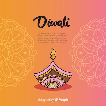 Colorful hand drawn diwali background