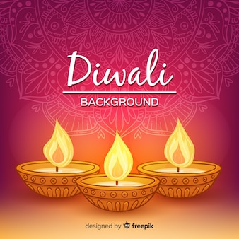 Colorful hand drawn diwali background