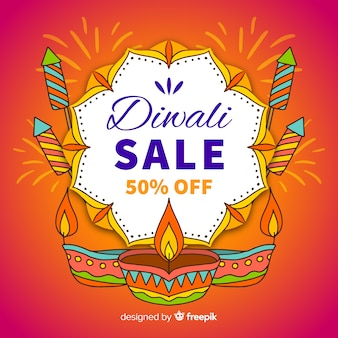 Colorful hand drawn diwali sale composition