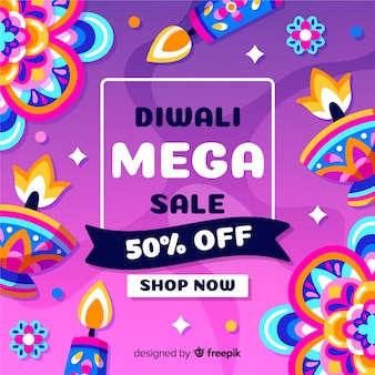 Colorful hand drawn diwali sale