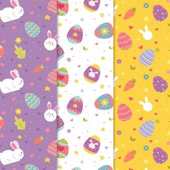 Colorful hand drawn easter day pattern collection