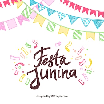 Colorful hand drawn festa junina background