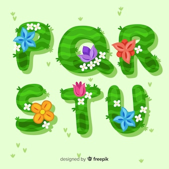 Colorful hand drawn floral alphabet