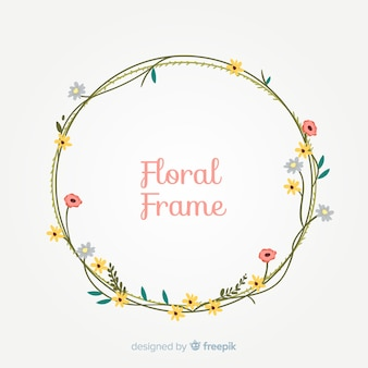 Colorful hand drawn floral frame