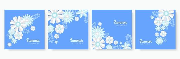 다채로운 손으로 그린 꽃 여름 인스 타 그램 게시물 또는 소셜 미디어 이야기 템플릿 컬렉션. 종이 컷 스타일 꽃 인사말 카드 컬렉션