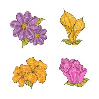 Colorful hand drawn flowers collection