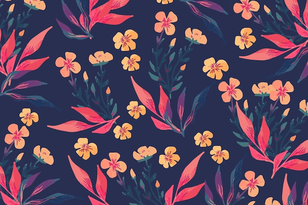 Colorful hand-drawn flowers concept