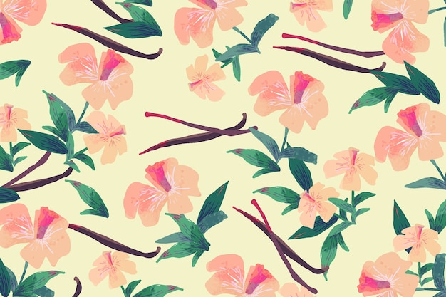 Colorful hand-drawn flowers design
