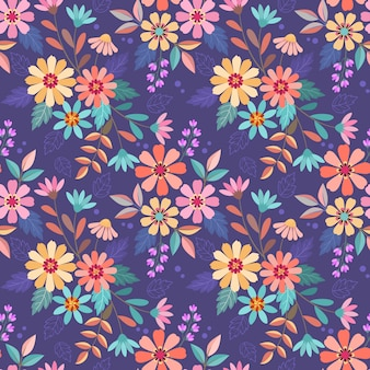紫色のシームレスなパターンベクトルデザインにカラフルな手描きの花。ファブリックテキスタイルの壁紙に使用できます。
