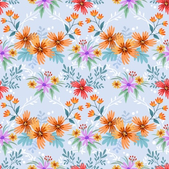 Colorful hand drawn flowers pattern vector design. can use for fabric textile wallpaper background.