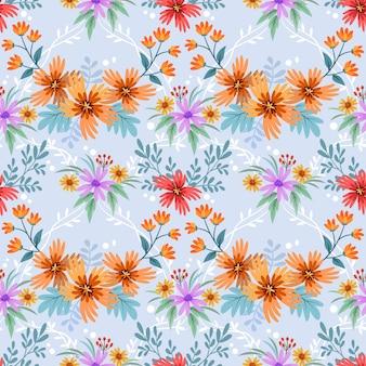 カラフルな手描きの花パターンベクトルデザイン。ファブリックテキスタイルの壁紙の背景に使用できます。