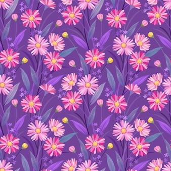 カラフルな手描きの花パターンベクトルデザイン。ファブリックテキスタイルの壁紙に使用できます。