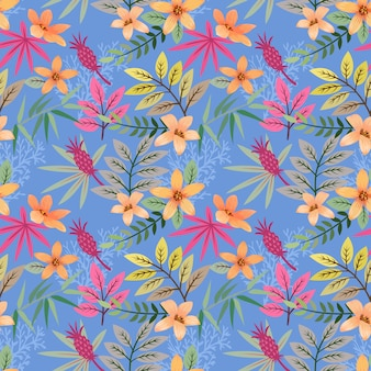 Colorful hand drawn flowers pattern vector design.