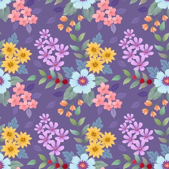 Colorful hand drawn flowers pattern.