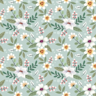 Colorful hand drawn flowers seamless pattern design.
