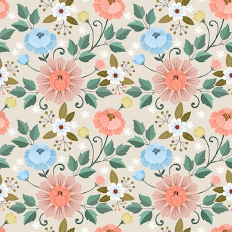 Colorful hand drawn flowers seamless pattern  .  fabric textile wallpaper.