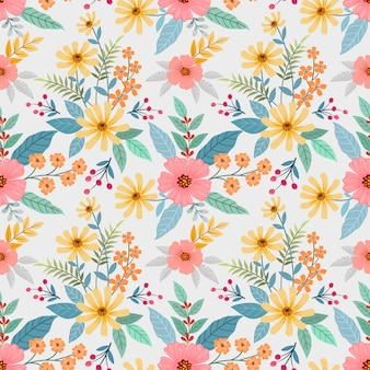 カラフルな手描きの花のシームレスなパターン。布テキスタイル壁紙。