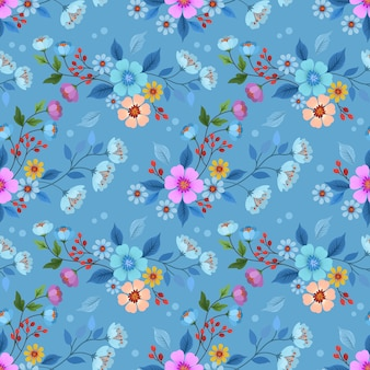 ファブリックテキスタイル壁紙のカラフルな手描き花のシームレスなパターンベクトルデザイン。