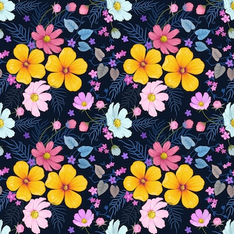 Colorful hand drawn flowers seamless pattern vector design.