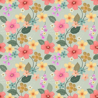 Colorful hand drawn flowers seamless pattern wallpaper