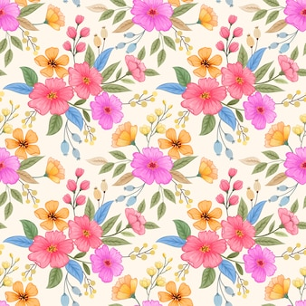 Colorful hand drawn flowers seamless pattern