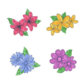 Colorful hand drawn flowers set