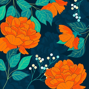 Colorful hand drawn flowers
