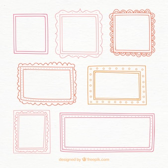 Colorful hand drawn frames