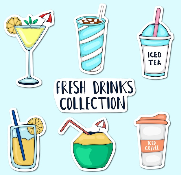 Colorful hand drawn fresh drinks stickers collection